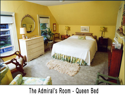 Our Admiral's Room features a Queen sized bed